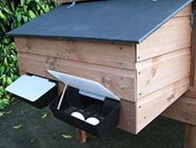 Optional roll out nestbox for Littleacre Products poultry houses