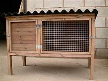 Traditional timber rabbit hutch