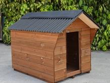 Traditional timber dog kennel
